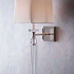 "Crystal Spear Sconce - This beautiful ""Crystal Spear"" sconce catches the light and your eye with it lovely shape and unique design.  This sconce would work well in a traditional of contemporary setting. Off-white shade is made of cotton.12""W x 19""D x 35""T."