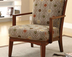Coaster - 902080 Accent Chair - Featuring a wood slatted back and solid wood frame with clipped corners in a warm walnut finish, this accent chair is stylish all the way around. Comfortable back and seat cushions are wrapped in a simple geometric pattern with an inviting and subtle color palette making it easy to match with.