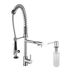 """Kraus - Kraus KPF-1602-KSD-30CH Chrome Kitchen Faucets Commercial Style - Product Features:Fully covered under Kraus  limited lifetime warrantyAll-brass faucet body and handle constructionHigh-quality, corrosion and rust resistant finish - finish covered under lifetime warrantyVersatile commercial-style coiled spring faucet neckOn-demand grip-trigger spray wandSide pot-filler with independent flow controlIncludes solid brass, self-priming (easy push), top-fill soap/lotion dispenserSpout swivels 360 degrees to allow for unobstructed sink accessHigh-arch gooseneck spout further allows for unobstructed sink accessProduct Technologies and Benefits:For the Professional Kitchen: To handle the turnover in commercial kitchens and restaurants, dish-washers need to be able quickly blast food away before rushing dishes through the sanitation cycle. For this reason, the pre-rinse faucet was developed to be a rugged, fully flexible faucet with an on-demand trigger. And until recently, these technologies were reserved only to commercial product lines. By adopting them, then sizing the package to fit residential kitchens, Kraus pre-rinse faucets have almost single handedly started a kitchen faucet revolution. People love the look and ease of use.Precision Kerox Cartridges: The cartridge's job is to deliver smooth handle operation and water flow, throughout hundreds of thousands of uses, without ever leaking – all while under a punishing 60 pounds-per-square-inch of pressure. For these reasons, it is quite literally what """"makes or breaks"""" the faucet. Kraus understands this, so they take no shortcuts here, importing their cartridges from the world's leading manufacturer of high-end precision ceramic disc cartridges, Kerox in Hungary.Swiss-Made NeoPerl Aerators: Aerators are possibly the most under-appreciated compo"""