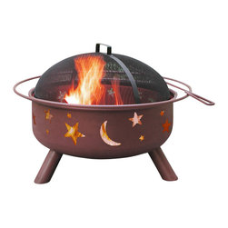 Landmann - Big Sky Shallow Bowl Stars & Moon Fire Pit - -Unique bowl design