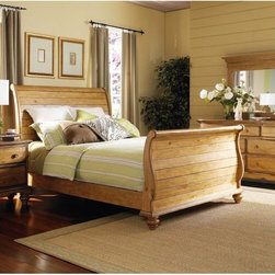 Hillsdale Furniture - Hamptons Sleigh Bed Multicolor - HL3375 - Shop for Beds from Hayneedle.com! The Hamptons Sleigh Bed is a fantastically elegant and gorgeous addition to any bedroom. Crafted of pine solids with a weathered finish this bed's smooth scalloped accents and beautiful headboard and footboard are sure to create a brilliant centerpiece for your bedroom. King or queen sizes available. About Hillsdale FurnitureLocated in Louisville Ky. Hillsdale Furniture is a leader in top-quality affordable bedroom furniture. Since 1994 Hillsdale has combined the talents of nationally recognized designers and globally accredited factories to bring you furniture styling and design from around the globe. Hillsdale combines the best in finishes materials and designs to bring both beauty and value with every piece. The combination of top-quality metal wood stone and leather has given Hillsdale the reputation for leading-edge styling and concepts.