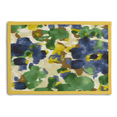 Blue & Green Dappled Watercolor Tailored Placemat Set - Class up your table's act with a set of Tailored Placemats finished with a contemporary contrast border. So pretty you'll want to leave them out well beyond dinner time! We love it in this abstract watercolor pattern dappled with bold, modern tones of emerald green, cobalt blue & golden mustard.