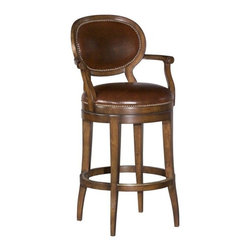 EuroLux Home - New Swivel Barstool Oval Back Brown - Product Details
