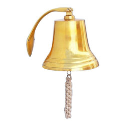 "Handcrafted Model Ships - Brass Hanging Harbor Bell 10"" - Brass Bell Decor - Elegantly designed and gleaming with a lustrous shine, this fabulous Brass Hanging Harbor Bell 4"" is equally stunning indoors or out, and is fully functional for actual use on the docks. Enjoy its wonderfully decorative style and distinct, warm nautical tone with each and every resounding ring. Each bell's length is measured from the highest point of its hanger to the lower lip of the bell, while the width is the diameter of the flared bell opening."
