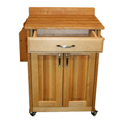 Catskill Craftsmen - Catskill Economy Kitchen Cart - Butcher Block Top & Backsplash - Convenient cart offers butcher block top with backsplash to keep things tidy. Lots of storage in drawer and cabinet with adjustable shelf. Two towel bars.