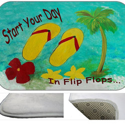 """USA - Flip Flops Start Yuor Day,  30"""" X 20"""" - Bath mats from my original art and designs. Super soft plush fabric with a non skid backing. Eco friendly water base dyes that will not fade or alter the texture of the fabric. Washable 100 % polyester and mold resistant. Great for the bath room or anywhere in the home. At 1/2 inch thick our mats are softer and more plush than the typical comfort mats. Your toes will love you."""