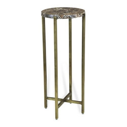 Interlude - Interlude Lara Circular Drink Table - The Lara Circular Drink Table combines chocolate marble with an antique brass finish base.