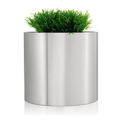 "Blomus - Greens Round Stainless Steel Planter - 15.75"" - In the demanding circle of your activities, there needs to be a place for quietly growing things. Enter the round stainless steel planter. This design integrates your sophisticated style with the practical need for a soil depth that accommodates the root systems of larger plants. Holistic smarts never looked so sharp."