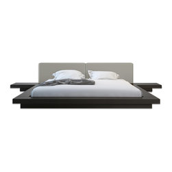 Modloft - Worth Wind Chime Leather Platform Bed | Wenge Frame, Cal King - This feng shui Worth Wenge/Warm Gray Leather Low Profile Platform Bed is complimented by an upholstered genuine leather headboard. Also includes two matching nightstands. Platform height measures 7 inches (2 inch inset).