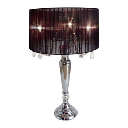 Elegant Designs - LT1034 Elegant Designs Romantic Sheer Shade Lamp Hanging Crystals, Black - 27.5 inch crystal drop table lamp. A modern twist on a classic table lamp. Features a sheer shade, flawless chrome finish, and beautiful draping crystals. Great fit for any room! Use it in a bedroom to create a romantic atmosphere or in a living room or office to add some fresh decorative flair. We believe that lighting is like jewelry for your home. Our products will help to enhance your room with elegance and sophistication.