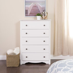 None - Winslow White 5-drawer Chest - Add a spacious five-drawer chest to any room and solve your clothing storage problem. Made of durable MDF and composite hardwood,this Winslow dresser features drawers that glide with ease,and the white finish blends well with other furniture.