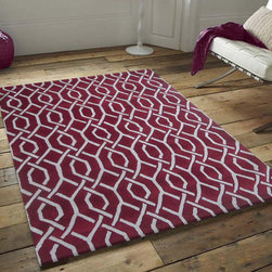 ~5' x 7' ft. Contemporary Burgundy Hand-tufted Rug - This Rug Measures Approximate Size(Width X Length):~5 X 7' ft. (152 cm x 214 cm) / No Assembly Required