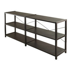 Winsome Wood - Sheldon 3-tier Crossed Wire Shelf - Our Sheldon 3-Tier Crossed Wire Shelf is versatile, you can use it to store books or even dub as TV stand for your flat screen. This X metal cross on the back lends to design plus gives stability, it is made of composite wood in cappuccino finish.