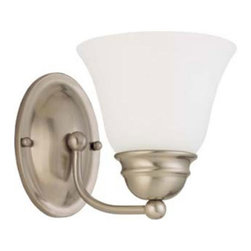 Nuvo Lighting - Empire Brushed Nickel One-Light Energy Star Bath Fixture with Frosted White Glas - Empire Brushed Nickel One-Light Energy Star Bath Fixture with Frosted White Glass Nuvo Lighting - 60/3317