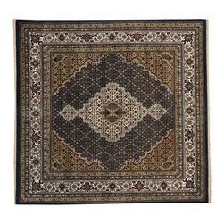 1800-Get-A-Rug - Square Tabriz Mahi 250 kpsi Handmade Oriental Rug Wool and Silk Sh19802 - Our fine Oriental hand knotted rug collection consists of 100% genuine, hand-knotted and hand-woven rugs from Persia, China, and other areas throughout Asia. Classic, traditional, and offered in a wide range of elaborate designs, every handmade rug is guaranteed to serve as a beautiful and striking element in any interior setting.