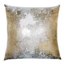 Square Feathers - Brillante Antiqued Throw Pillow - Exquisitely textured, the contemporary Brilliante Antiqued throw pillow dazzles with a mottled effect. The handmade accent's metallic gold, silver and bronze palette lends glam sophistication. Available in several sizes; Silk and polyester; Silver velvet reverse; Zipper closure; Includes 90/10 feather down insert; Dry clean only; Made in the USA