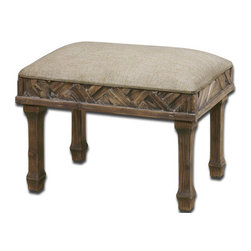 The Uttermost Company - Tehama Cushioned Small Bench - Weathered, sanded and lightly burnished natural fir wood with a light dusty wash and cushioned seat in ivory linen-weave texture.
