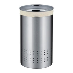 Brabantia Laundry Bin - Keep your dirty laundry stylishly separated from the rest of your life with the Brabantia Laundry Bin. This steel bin, finished in either finger-print proof brushed stainless or clean white, has ventilation holes, a slip-proof bottom ring, and an included canvas bag that stays attached.About Brabantia Kitchen and HousewaresBrabantia products are designed for today, but with a strong nod to the future. With a wide line of laundry bags, stainless steel garbage cans, trash cans, ironing boards, and so much more, Brabantia is a company you can rely on for quality.