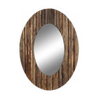 """Cooper Classics - Loveland Natural Rustic Wood Oval Mirror - Natural Rustic Wood Finish Mirror, Frame Dimensions: 27.5""""W X 35.5""""H, Mirror Dimensions: 13.5""""W X 23.5""""H, Finish: Natural Rustic Wood, Material: Wood, Beveled: No, Shape: Oval, Weight: 22 lbs, Included: Brackets, Ready to Hang"""