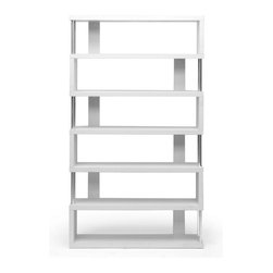 Baxton Studio - Baxton Studio Barnes White Six-Shelf Modern Bookcase - This artsy, modern bookcase gets you organized with style. Our Barnes Bookcase is made of white paper veneer over an engineered wood frame and features chromed steel side supports. Not only does this modern display shelf house books, but it is also the perfect place to show off your prized vases, d??????cor, and home accents.  The Barnes Bookcase is Malaysian-made, requires assembly, and should be dusted with a dry cloth. Separately offered is the Barnes Bookcase with three shelves as well as the Barnes Bookcase in dark brown. Dimensions: 75.2 inches high x 43.3 inches wide x 11.4 inches deep