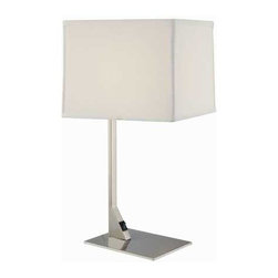 Design Classics Lighting - Modern Table Lamp with Rectangular Shade - 6090-1-09 / SH7354 - The sleek design of this table lamp will make an immediate impact on the decor of any room. A rectangular bright white shade hovers over a flat base. The shade measures 8 x 9-1/2-inches on the top by 8-1/2 x 10-inches on the bottom by 8-inches in height. Takes (1) 100-watt incandescent A19 bulb(s). Bulb(s) sold separately. Dry location rated.