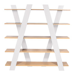 Temahome - Temahome Wind Shelving Unit, Oak-White - A shelving unit that puts a splash of color into any environment.