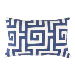 "Lili Alessandra - Lili Alessandra Onasis Linen White & Navy Decorative Pillow - Elaborate prints, plush fabric and elegant details define the unique and distinctive style of Lili Alessandra. A classic Greek key pattern is made romantic on the Onasis decorative pillow. Creating depth and texture, a navy blue applique is embroidered onto crisp white linen to create this ornate pillow. Give a bedroom or living space an exquisite layered look by coordinating this sophisticated rectangle accent with other Lili Alessandra throw pillows, blankets and bedding (available separately). Available in two sizes, pillow includes a zipper closure and a 95/5 feather down insert. Lili Alessandra textiles reflect a hand made artistry that may result in slight and expected design variations. Professional cleaning recommended. Small rectangle pillow measures 14"" x 22"". Large square pillow measures 24"" x 24""."