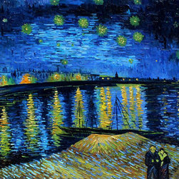 "overstockArt.com - Van Gogh - Starry Night Over the Rhone - 30"" X 40"" Oil Painting On Canvas Need Help Decorating your Home? Click Here to get Inspired! Hand painted oil reproduction of one of the most famous Van Gogh paintings, Starry Night Over the Rhone. The original masterpiece was created in 1889. Today it has been carefully recreated detail-by-detail to near perfection with our canvas art reproduction. Why settle for a print when you can add sophistication to your rooms with a beautiful fine gallery reproduction oil painting? One of the today's most recognized paintings, Starry Night by Vincent Van Gogh is a classic painting that invokes emotions from the serenity of the church steeple to the wild abandon of color used for his late night sky. Imagine the movement of the painter as he twists and turns his brush to create the dance between the stars and the clouds under the calm, peaceful village. Vincent Van Gogh's restless spirit and depressive mental state fired his artistic work with great joy and, sadly, equally great despair. Known as a prolific Post-Impressionist, he produced many paintings that were heavily biographical. This work of art has the same emotions and beauty as the original by Van Gogh. Why not grace your home with this reproduced masterpiece? It is sure to bring many admirers!"