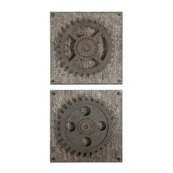 Uttermost - Uttermost Rustic Gears Wall Art in Rush Bronze (Set of 2) - Rust bronze details accented with heavily distressed, aged ivory over rustic wood.