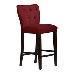 None - Made to Order Tufted Hourglass Bar Stool - A beautiful rich red hue and tufted detailing pair with espresso-finished legs to create the elegant design of this lovely hourglass bar stool. Enjoy the comfort offered by the plush padded seat as you dine or enjoy cocktails.