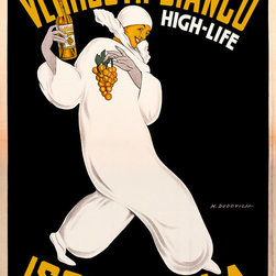 Vermouth Bianco Print - Vermouth Bianco, High-Life, created by artist Marcello Dudovich in 1946 for La Presse in Milan, Italy. Original is a color lithograph at 140 x 100 cm.