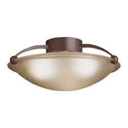KICHLER - KICHLER Contemporary Semi Flush Mount Ceiling Light X-ZT6048 - This Kichler Lighting semi flush mount ceiling light blends contemporary styling with warm traditional hues for a unique, updated look. The sunset etched glass shade houses three lights that provide an ambient glow to compliment the warm Tannery Bronze finish.