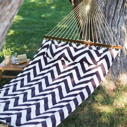 Island Bay 13 ft. Walnut and Cream Chevron Stripe Quilted Hammock - Enjoy your summer with the Island Bay Walnut and Cream Chevron Stripe Quilted Hammock. The bed is made with weather-resistant outdoor fabric and features a beautiful chevron design. A matching button-on pillow is included for ultimate comfort. The solid juniper hardwood spreader bars keep the bed open for easy entering and exiting. With a weight-capacity of 450 pounds and bed width of 4 feet, 6 inches, there is plenty of room for two people! All hanging hardware is included, so you'll be lounging in minutes! About Island Bay HammocksIsland Bay brings you well-designed, authentic hammocks and accessories from around the world. From the East Coast to the West Indies, the hammock is recognized as the ultimate getaway, so we've dedicated ourselves to getting it right. You'll find eye-catching colors and patterns, comfortable outdoor designs, and heavy-duty stands designed to keep you swinging peacefully. It's your world ... relax in the real thing.