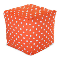 Majestic Home - Outdoor Orange Ikat Dot Small Cube - Versatile, casual and fun, beanbag ottoman cubes are great to have around the house for all kinds of impromptu uses, from footstools to extra seating to side tables. With it's cute modern polka dot print and durable, washable cover, this comfy cube should work for you just about anywhere you need it, indoors or out. You'll wonder what you ever did without it.
