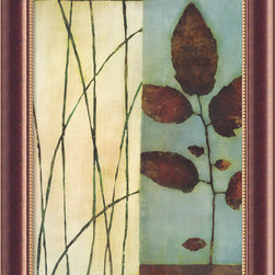 Amanti Art - Quiet Leaves Framed Canvas by Dominique Gaudin - Bring the calm that only nature offers into your home with this print by Dominique Gaudin. Images of leaves and grasses are rendered in spring green and chocolate brown with a soft taupe and blue background. An antique burnished-copper frame with gold inner beading highlights the artwork.