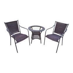 Oakland Living - Oakland Living Resin Wicker Straight Back 3-Piece Set in Coffee - Oakland Living - Patio Bistro Sets - 90047C90048T3CF - About This Product: