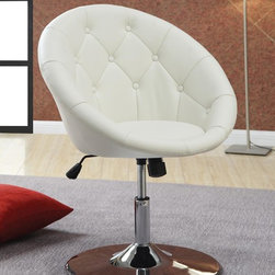 Coaster - White Traditional Accent Chair - BUTTON TUFTED SWIVEL CHAIR IN LEATHER-LIKE VINYL WITH CHROME BASE. CAN ADJUST IN HEIGHT AND TILT
