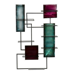Holly & Martin - Santa Maria Wine Storage Wall Sculpture - Holds up to 8 bottles of wine. Hangs as easily as a picture. Hand painted. Durable metal construction. 24 in. W x 4 in. D x 38.5 in. H (10 lbs.). Assembly InstructionCreate an art gallery in your own home and enhance it with function. This abstract geometric panel wall sculpture is hand painted and can hold up to 8 bottles of wine! Rarely is there opportunity to combine two of your favorite things in such a mesmerizing way. All of your guests are sure to flatter you with compliments.