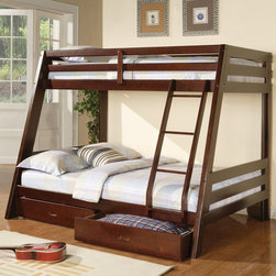 Coaster - 460228 Twin/Full Bunk Bed - Crafted from pine wood and veneers, this cappuccino finished bunk bed features build in ladder and guard rails for safety and convenience. Two under-bed storage drawers are also included.
