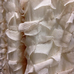 "Drapery Street - Feathery Silk, Cream, 45"" x 130"" long,  designer knife pleat - A soft flowing fabric that combines the beauty of silk with a feathery silk applique.  Available in 3 colors."