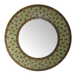 "Round Mirror - Green & Brown Mosaic, 24"" - DESCRIPTION"