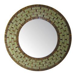 """Round Mirror - Green & Brown Mosaic, 24"""" - DESCRIPTION"""
