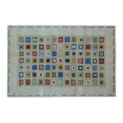 1800-Get-A-Rug - Lori Buft Gabbeh Hand Knotted Rug Geometric Design Sh9145 - About Modern & Contemporary