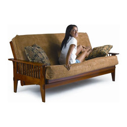 LifeStyle Solutions - Lifestyle Solutions Fashion Hardwood San Mateo Futon Frame in Medium Oak - LifeStyle Solutions - Futons - FB2SMT - This beautiful Lifestyle Solutions San Mateo Convertible Futon combines the vertical slat detailing of Mission style with the functionality of modern design. Clean straight lines are offset by gently tapered legs. Easy to use enhanced by a rich wood finish this futon sofa is both comfortable and attractive.