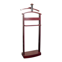 Proman Products - Proman Products Trojan Valet in Mahogany and Black - Proman Products - Valet Stands - VL16184 - The Trojan Valet in dark mahogany with black hardware is an elegant way to preserve the look of your fine garments. It features a fully contoured jacket hanger on top of a contoured valet top allowing users to hang up two coats at one time. A deep tray to store change and jewelry and retractable belt/tie rod on both sides of trouser bar are special features no other valets offer. Black side panel and finely crafted features are what make this stately wardrobe valet a standout. Our solid wood construction ensures years of enjoyment from this furniture piece.