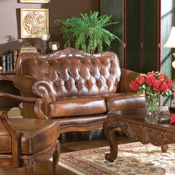 Coaster - Victoria Tri-Tone Classic Loveseat - Classic button tufted tri-tone leather loveseat. Features decorative moldings and over 1,000 individually placed nailheads to highlight this set's gentle curves.