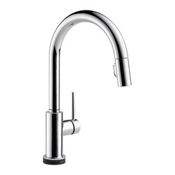 Delta - Delta 9159T-DST Trinsic Series Deck-Mounted Pull-Down Kitchen Faucet - Delta 9159T-DST Trinsic Collection  with sleek sophistication inspired by modern European design has clean lines and a minimalistic feel. The Delta 9159T-DST is a one handle Pulldown Kitchen Faucet in Chrome Touch Activated.