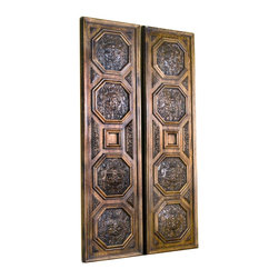 "Kathy Kuo Home - Beckley Hand Carved Large Architectural Coffer Wood Panels - ""Exquisitely hand carved with the utmost details at 9 feet tall each, these coffered panels are perfect used as architectural doorways or flanking either side of a console or walkway. Only two pairs left. Pair sold together. No two are alike."