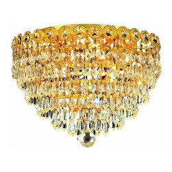 "PWG Lighting / Lighting By Pecaso - Agathe 4-Light 14"" Crystal Flush Mount 1617F14G-SS - This classical Agathe Crystal Chandelier with flowing symmetrical shape and nearly invisible frame offers a striking surge of brilliant light. Sconces and ceiling mounts enhance your room decor."