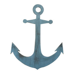 """Handcrafted Model Ships - Rustic Ocean Blue Anchor 30"""" - Vintage Anchor - Our Rustic Ocean Blue Wooden Anchor 30"""" is a an instant conversation starter when put on display in your nautical theme home. Perfect for those looking to prominently display nautical theme decor, this anchor decoration can be displayed on a wall or can lean right up against a wall as an accent piece. Give this as a nautical gift to a loved one and choose between the following colors - Rustic Whitewash, Rustic Red, Rustic Ocean Blue, or Rustic Coastal Blue."""